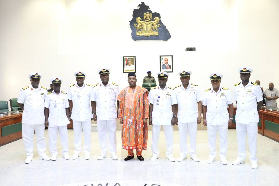 Governor Udom Emmanuel (m) in a group photograph with the Eastern Naval Command, Rear Admiral V.O Ad