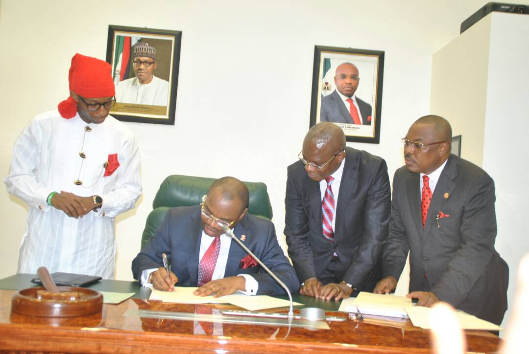 GOV. EMMANUEL SIGNING THE 2018 APPROPRIATION BILL OF 646.6 BILLION NAIRA INTO LAW
