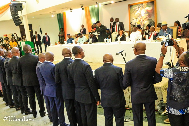 Live: Swearing-in of Commissioners/Special Advisers by Governor Udom Emmanuel.