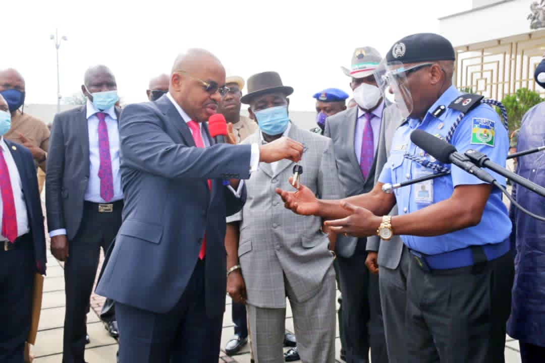 Photos: Governor Udom Emmanuel donates 30 new patrol trucks to security agencies