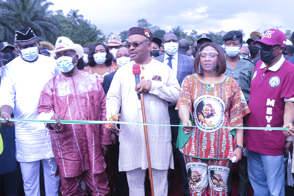 Gov Emmanuel Inaugurates Road, 300m twin bridges in Obot Akara, Awards more Projects